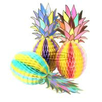 China Multicolor Pineapple Summer Themes Decoration Honeycomb Poms wholesale