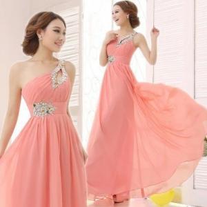 China Chiffon Long Pink Bridesmaid Dress Double Shoulder Straps Beading Sash Toast Dress wholesale