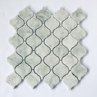 China Popular Design White Mosaic Tile Sheets Lantern Stone Mosaic Tile Arabesque Baroque Shaped wholesale