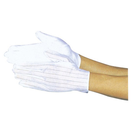 Quality Lint Free ESD Non Slip Gloves Covered With Plastic Spots For Industrial Worker for sale