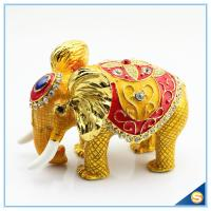 China Thai Style Elephant Enamel Ornaments Jewelry Box Home Furnishing Lucky Elephant Trinket Box on sale