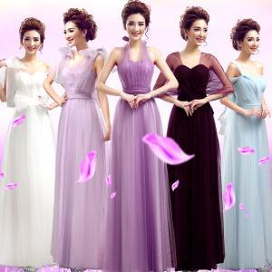 China White Purple Light Purple Color Halter Long Section Bridesmaid Dress Evening Dress TSJY126 wholesale