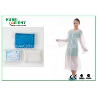 China Waterproof Disposable Lab Coats , Transparent Plastic PE disposable visitor coats wholesale