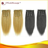 China 14 Inch Virgin 100 Human Hair Clip In Hair Extensions Tangle Free wholesale