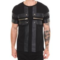 China Men tshirt design with zipper and leather scoop neck t shirt for men wholesale