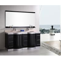 China Artificial Stone Eased Edges Double Vanity Countertops And Sinks Black Color wholesale