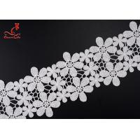 China Beautiful Flower White Embroidered Lace Trim For Wedding Dress wholesale