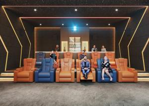 China 3D Home Cinema System With Genuine Leather Movie Theater Sofa Seats And Electric Recliner wholesale