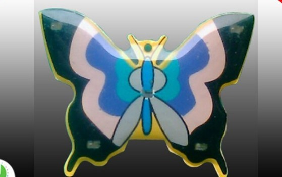 Quality different colors butterfly pin LED light flashing badge butterfly clasp pins badges  for sale