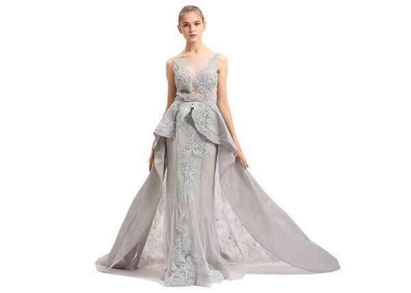 Quality Floor Length O Neck Prom Wedding Dresses / Grey Beading Muslim Evening Dress for sale