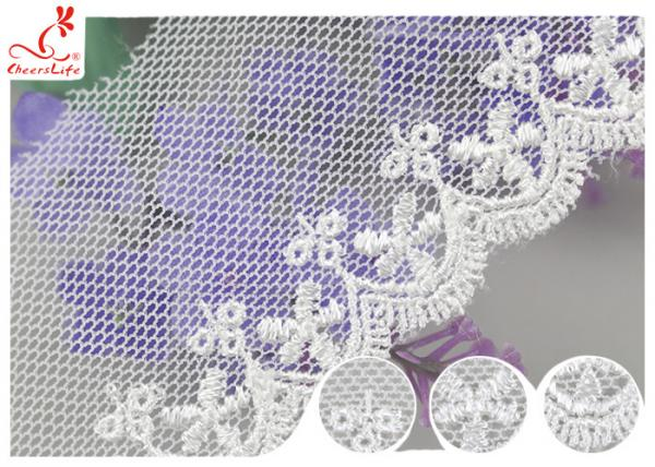 Quality White Width 4CM Mesh Lace Ribbon Embroidery Fabric For Curtain Decoration for sale