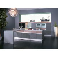Grey / Pink High Gloss Lacquer Kitchen Cabinets With White Quartz Stone