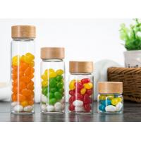 China 500ml Glass Storage Jars With Wood Lid / Transparent Glass Candy Jars In Bulk on sale
