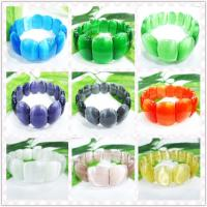 China Semi Precious Gem Jewelry, Multi-color Cat Eye Glass Beaded Bracelet, Opal Bead Bracelet wholesale