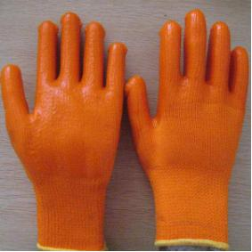 Quality yellow PVC coated working gloves PG1513-1 for sale
