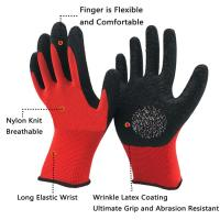 China Comfortable 13 Gauge Latex Coated String Knit Gloves Elastic Cuff For Construction wholesale