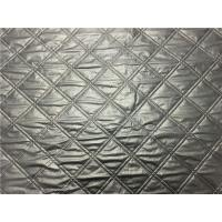 China Wadded Clothes 1.2mm Quilted Bonded Leather Fabric With Polyester Cotton Surface Silver Color on sale