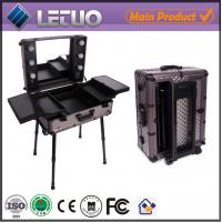 China professional makeup trolley case cosmetic case makeup case with lights wholesale