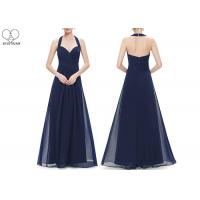 China Hanging Neck Wedding Bridesmaid Dresses , Colorful Chiffon Pleated Ball Gown wholesale
