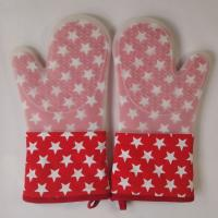 Little Star Printed Red Silicon Heatproof Kitchen Oven Mitts 7.25 x 13.25 inch