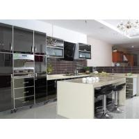 China Black Mirror Door Panel Stainless Steel Kitchen Cabinet With Beige Island And Drawers on sale