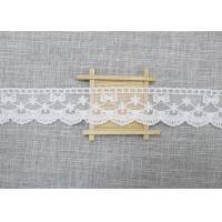 White Embroidered Lace Trim For Smocked Dress / Lace Ribbon Embroidery Fabric