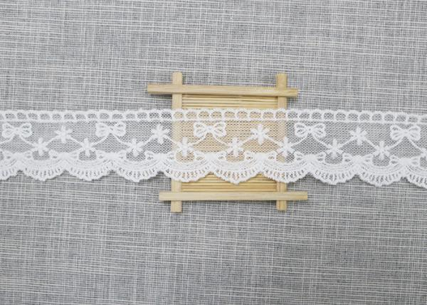 Quality White Embroidered Lace Trim For Smocked Dress / Lace Ribbon Embroidery Fabric for sale