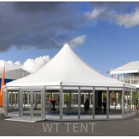 China Commercial White Multi Sided Tent / Outdoor Pagoda Canopy Tent Glass Windows on sale