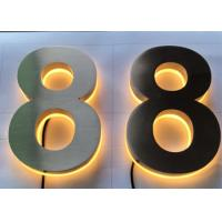 China Stainless Steel Channel Letter Signs 3D Backlit Number Illuminated Brushed Polish on sale