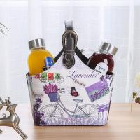 China Lavender Bike Pattern Pu Leather Gift Storage Container Printing Foldable Waterproof Decor Basket with Low Price wholesale