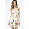 China Open Back Floral Print Bridesmaid Dresses , Elegant Girls Spaghetti Strap Dresses wholesale