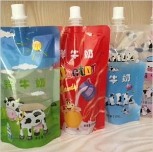 China Cartoon Printing Fresh Milk Liquid Spout Bags 2 Layers Material wholesale