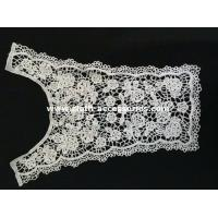 China Embroidered Flower Lace Trim / 33cm Polymide White Lace Neck Collar on sale