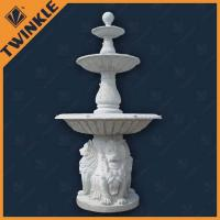 China White Marble Natural Stone Water Fountains Outdoor With Lion Statue wholesale