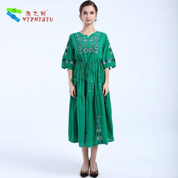 Quality YIZHIQIU embroidery green women boho dress for sale