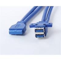 China Panel Mount Super speed USB3.0 double AF port to 20pin cable wholesale