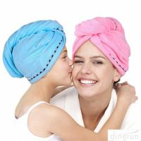 China Super Absorbent Microfiber Hair Towel Wrap Hair Turban Head Wrap with Button wholesale
