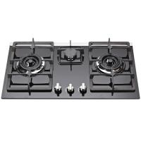 China Natural Gas Tempered Glass Top Gas Hob , Glass Top Gas Stove 3 Burner on sale