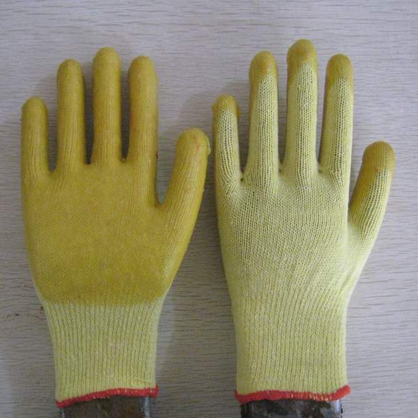 Quality yellow PVC coated working gloves PG1514-2 for sale
