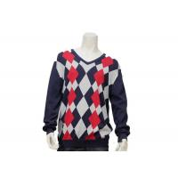 China Argyle Mens Casual Sweater Intarsia Knitting Patterns V Neck Knitted Jumper wholesale