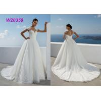 New Style Sweep Brush Train White Cap Sleeve Bride Frocks Custom Bridal Ball Gown