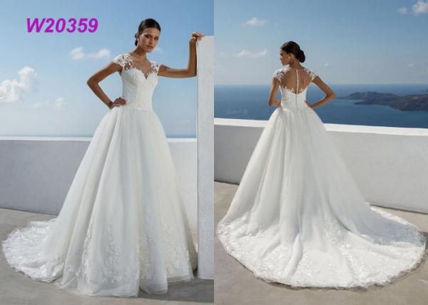 Quality New Style Sweep Brush Train White Cap Sleeve Bride Frocks Custom Bridal Ball Gown for sale