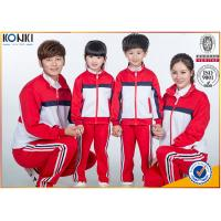 China Red and white color jacket design custom school uniform for sport meeting on sale