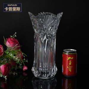 """China 11"""" alto proveedor de cristal claro de la venta al por mayor de China de los floreros del diamante del modelo del lage alto del vintage wholesale"""