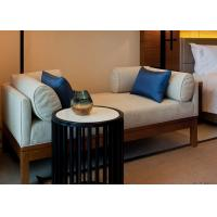 China Ivory Color Relax Fabric Upholstered Wooden Bench Seat With Hardwood Frame wholesale