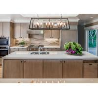 China Contemporary Brown Wood Grain Pvc Kitchen Cupboards Island Bench With White Quartz wholesale