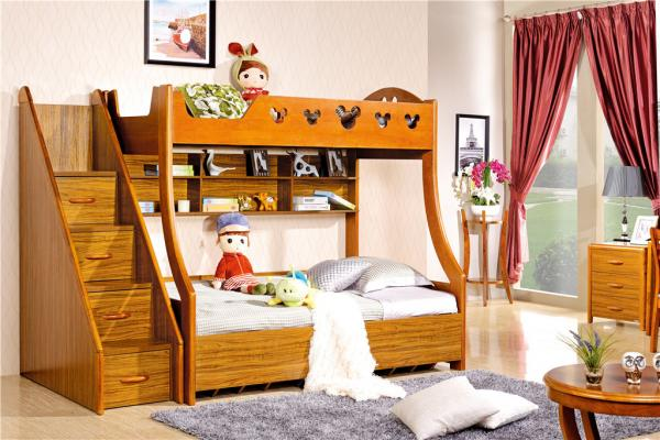 Quality modern Zingana wood children bunk bed furniture for sale