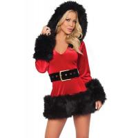 Fancy Fur Black Red Adult Christmas Costumes Mascot Cosplay For Girl