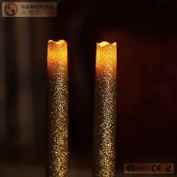 Gold Glitter LED Taper Candles With Timer , Flameless Real Wax Candle
