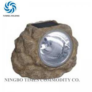 White Color 3 LED Solar Lights Waterproof Polyresin LED Rock Landscape Lights